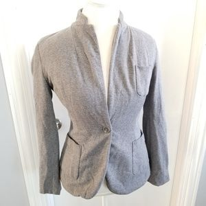 Heathered Gray Thick Cotton Lined Blazer Jacket